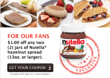 graphic about Nutella Printable Coupon identify foodstuff Frugal Working day